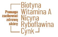 Pomaga zachować zdrową skórę – Witamina A, Biotyna, Nicyna, Ryboflawina, Cynk